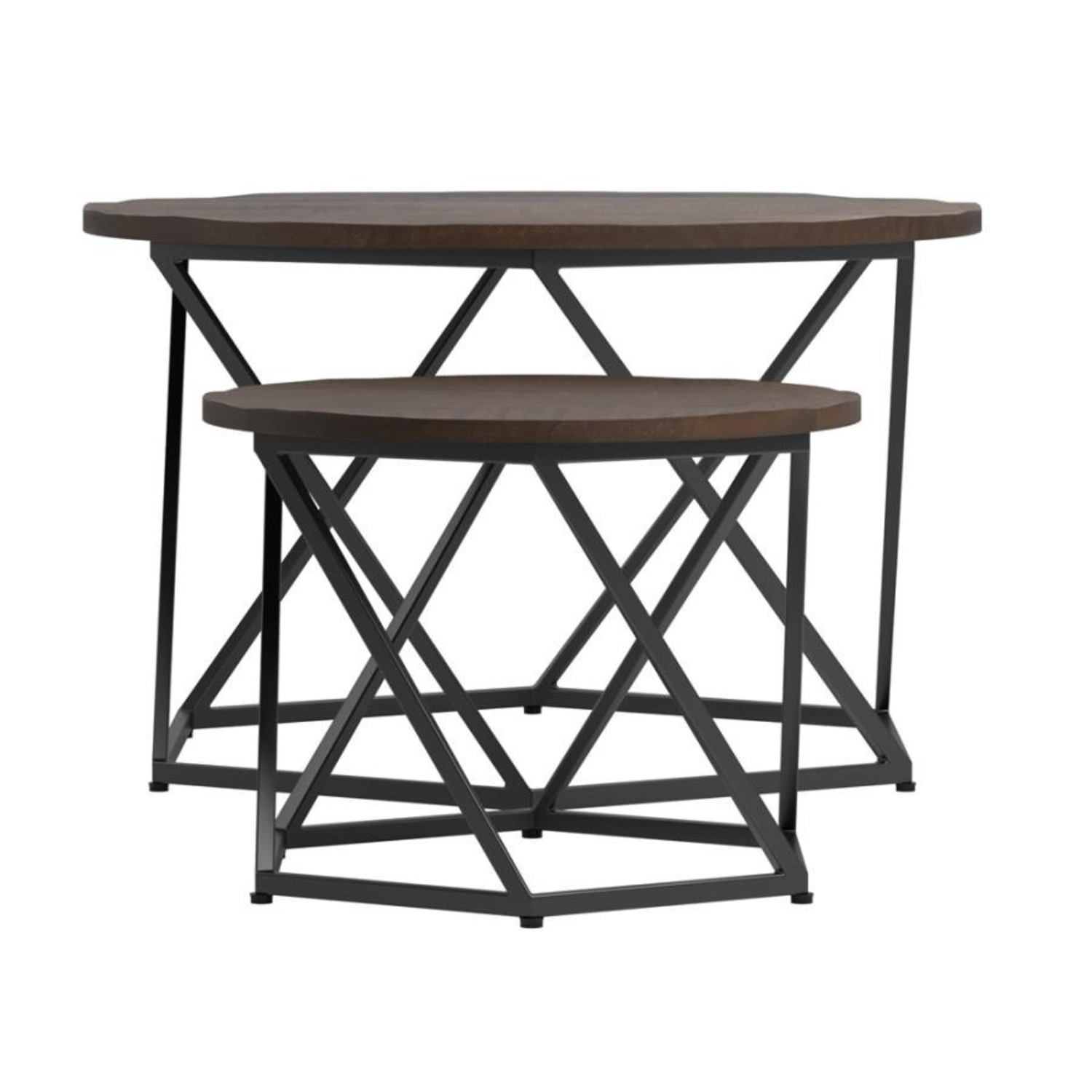 Nesting Table In Natural & Matte Black Finish - image-1