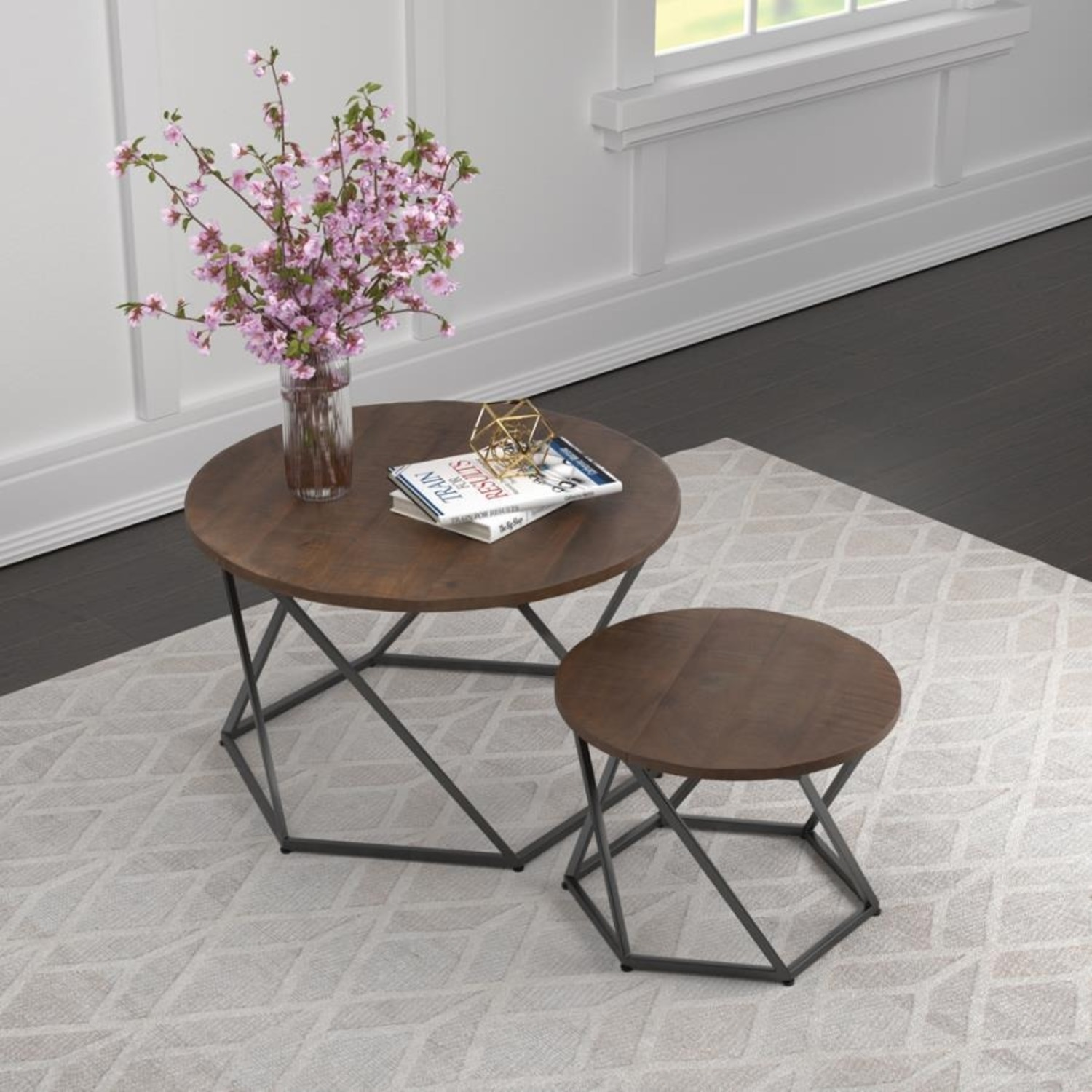 Nesting Table In Natural & Matte Black Finish - image-4