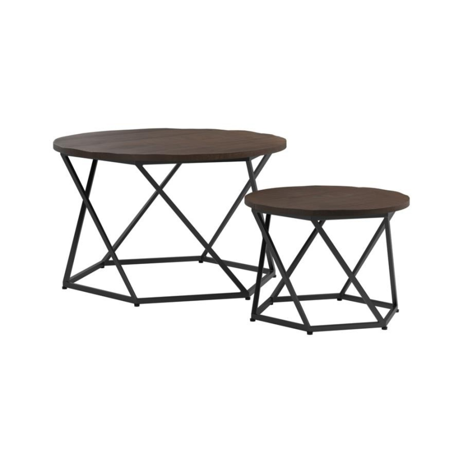 Nesting Table In Natural & Matte Black Finish - image-0