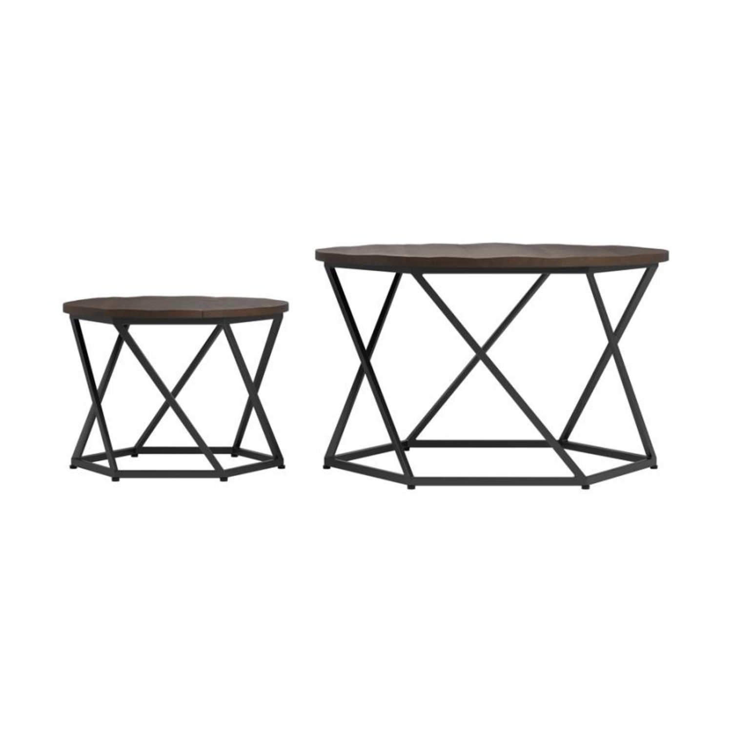Nesting Table In Natural & Matte Black Finish - image-2