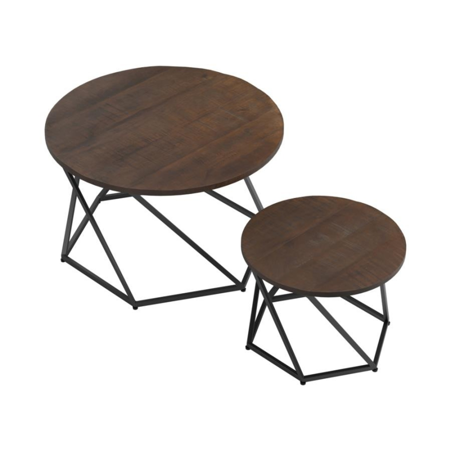 Nesting Table In Natural & Matte Black Finish - image-3