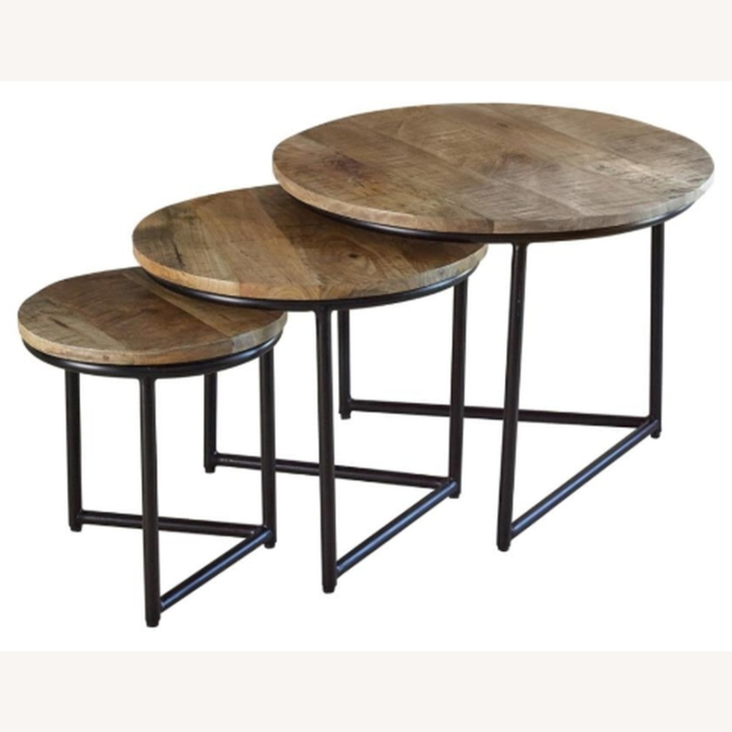 3-Piece Nesting Table In Natural Sheesham Grey - image-1