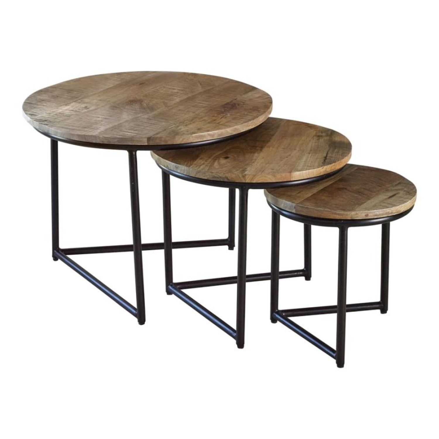 3-Piece Nesting Table In Natural Sheesham Grey - image-0