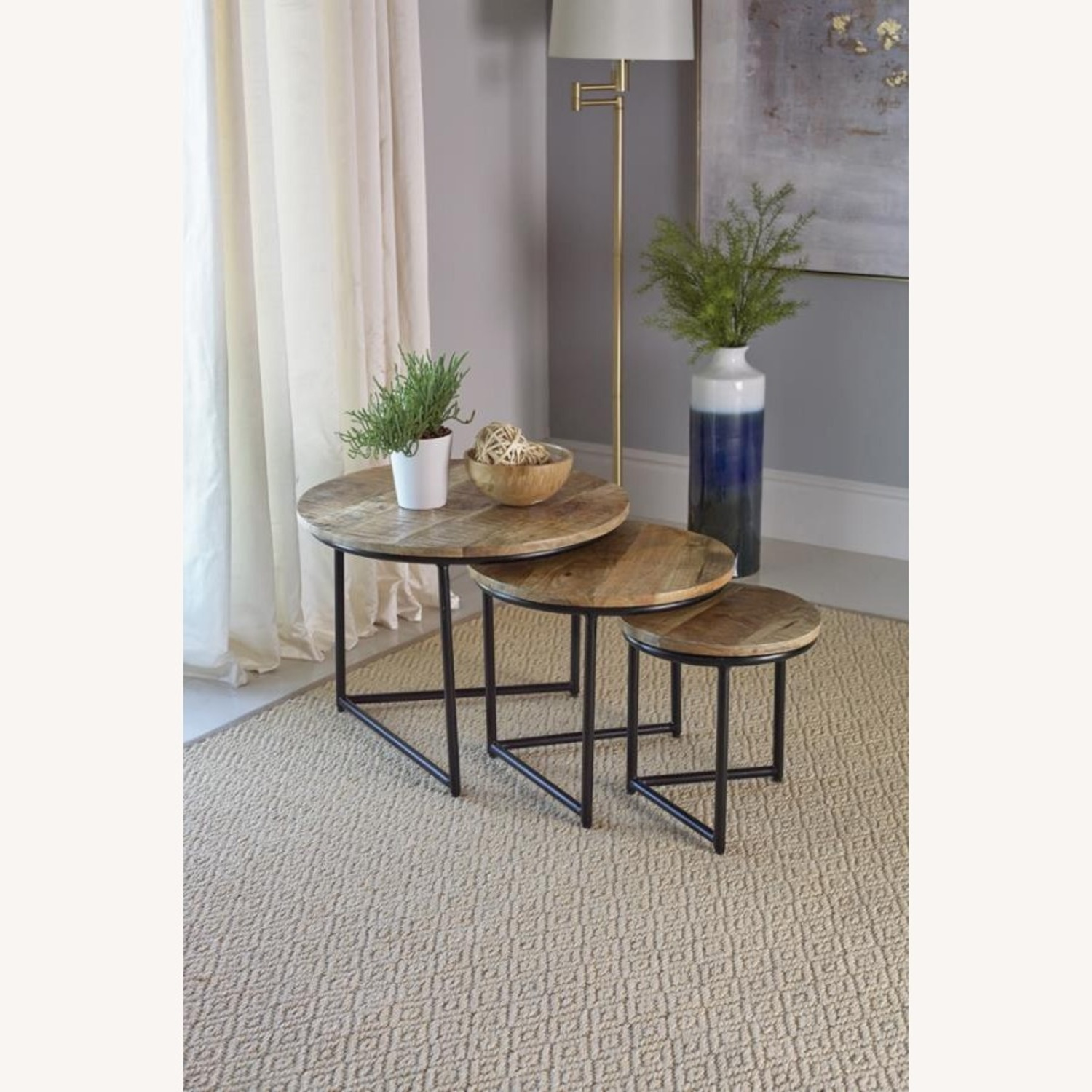 3-Piece Nesting Table In Natural Sheesham Grey - image-2
