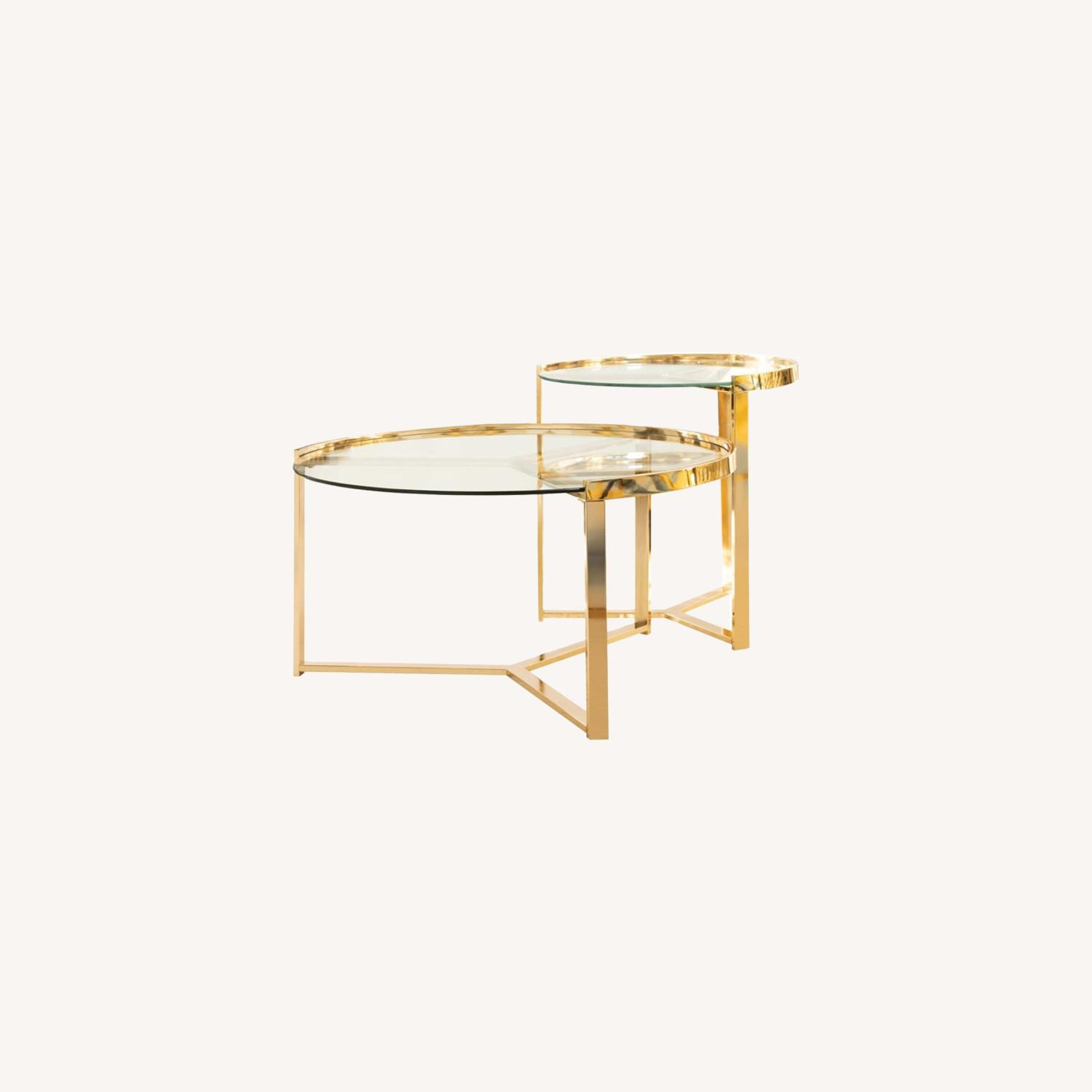 Nesting Table In Gold Finish W/ Tempered Glass - image-3