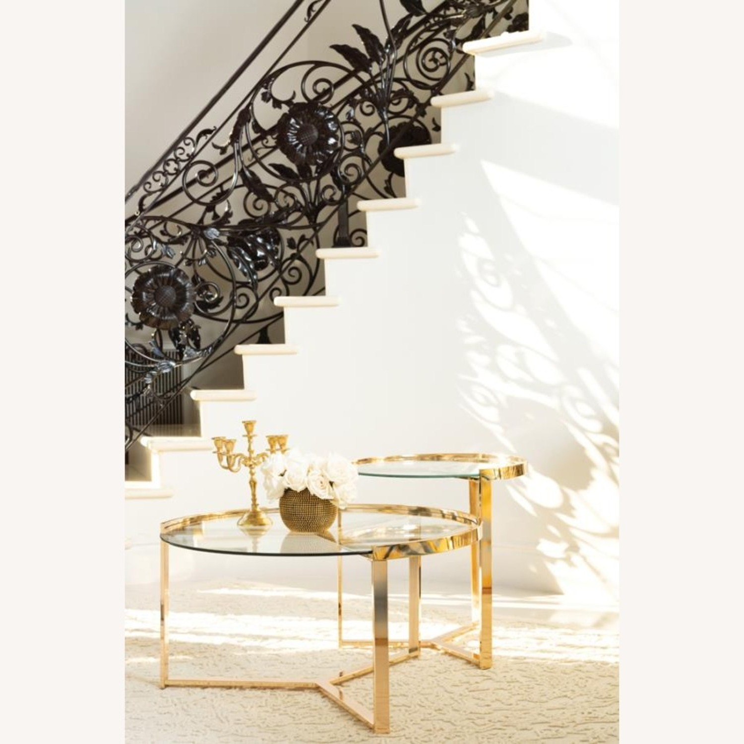 Nesting Table In Gold Finish W/ Tempered Glass - image-2