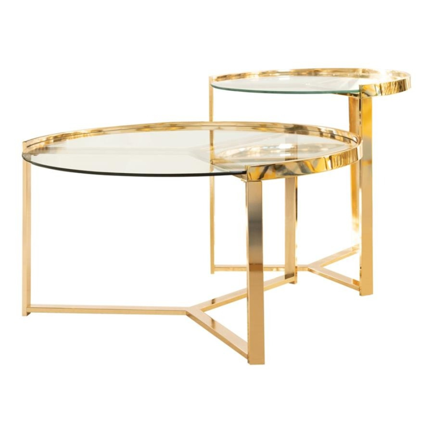 Nesting Table In Gold Finish W/ Tempered Glass - image-0