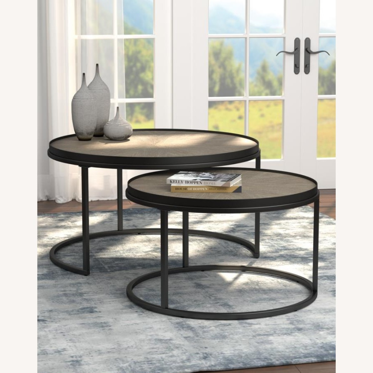 2-Piece Nesting Table In Weathered Elm Finish - image-3