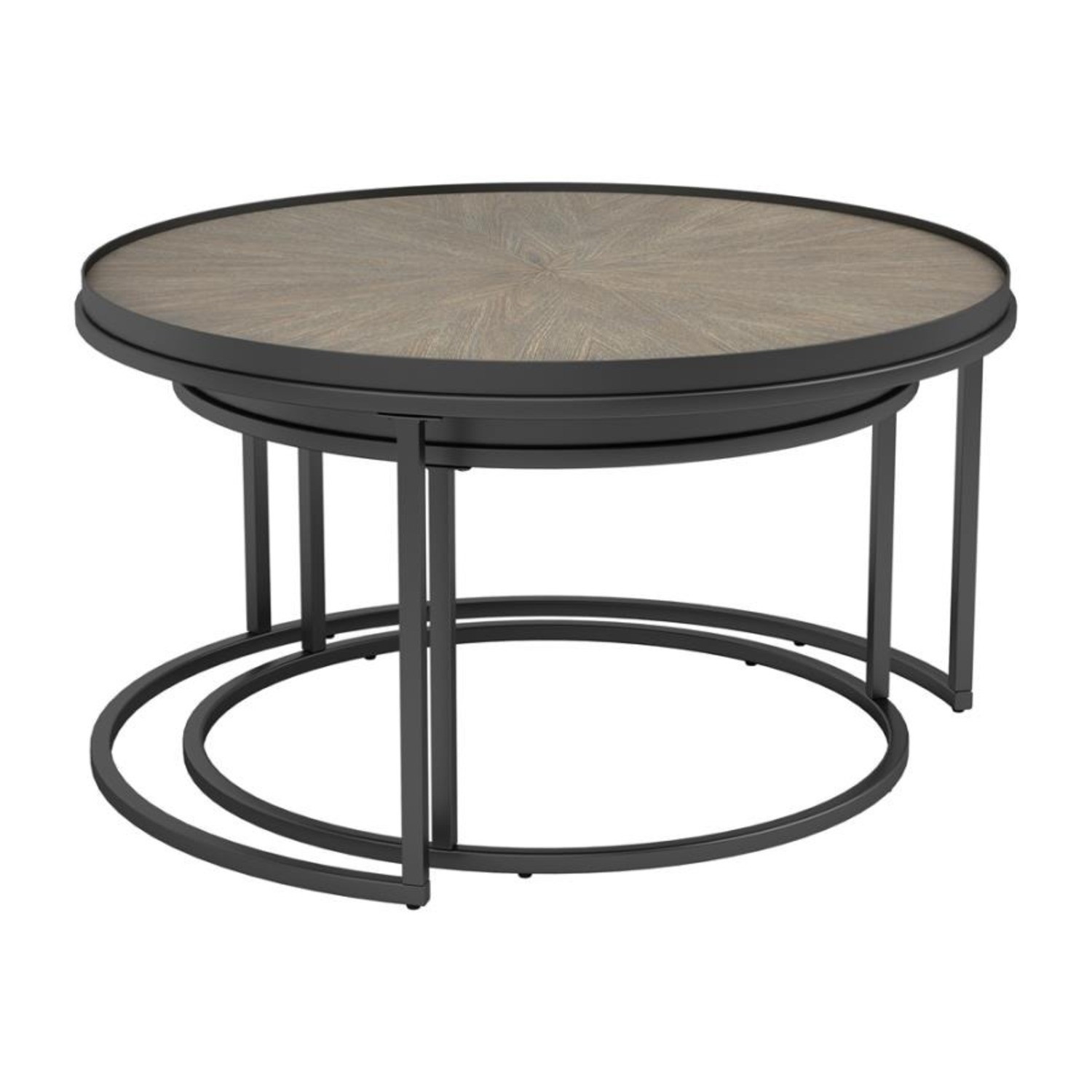 2-Piece Nesting Table In Weathered Elm Finish - image-1