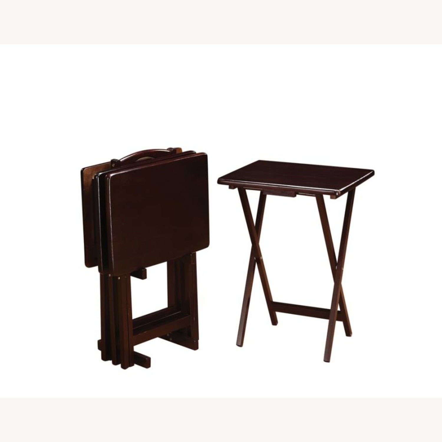 5-Piece Tray Table In Cappuccino Finish - image-1