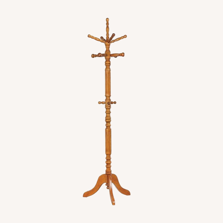 Coat Rack In Dark Honey Rubberwood Construction - image-3