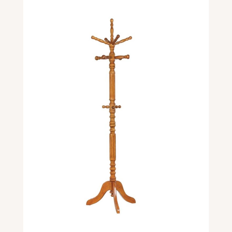 Coat Rack In Dark Honey Rubberwood Construction - image-1
