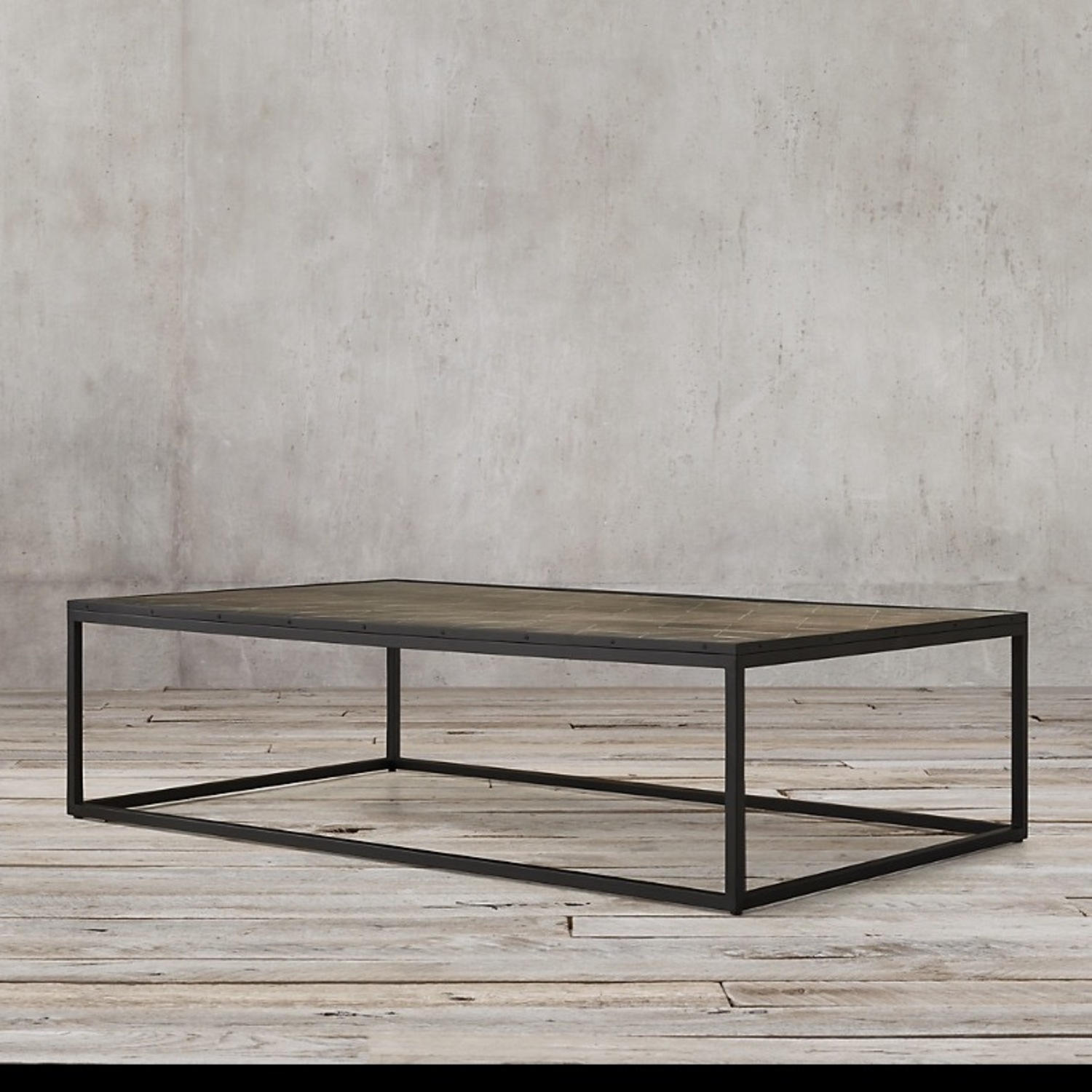 Restoration Hardware Metal Parquet Coffee Table - image-1
