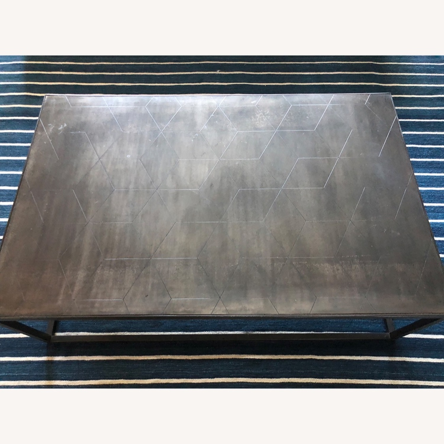 Restoration Hardware Metal Parquet Coffee Table - image-3