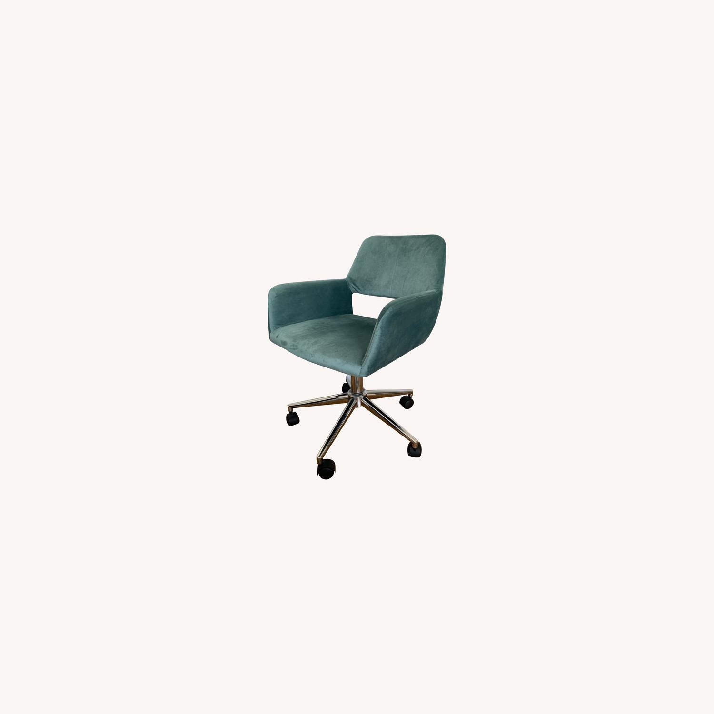 Wayfair Light Turquoise Velvet Task Chair - image-0