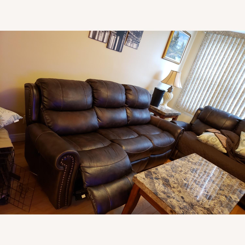 Bob's Discount Furniture Leather Reclining Sofa - image-3