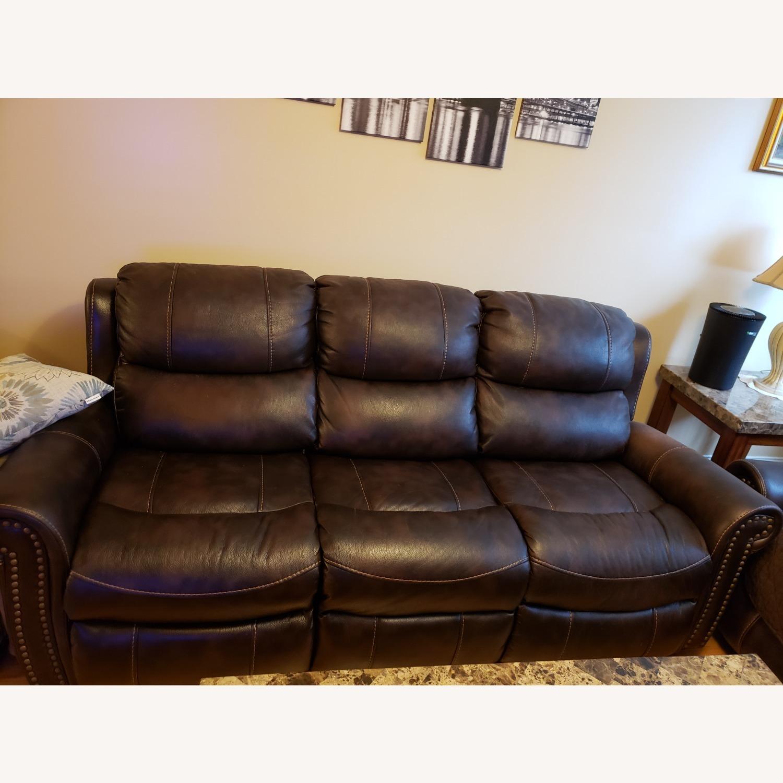 Bob's Discount Furniture Leather Reclining Sofa - image-1