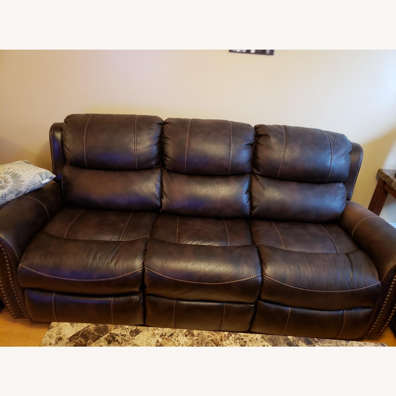 Bob's Discount Furniture Leather Reclining Sofa - image-2