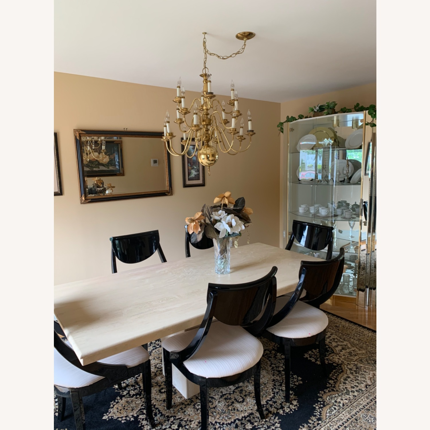Marble Travetine Dining Table - image-6