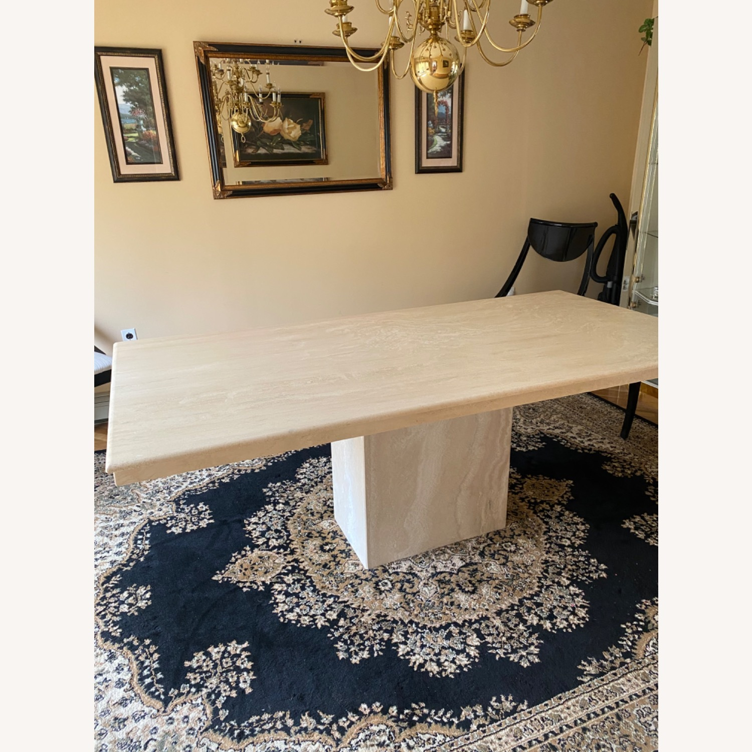 Marble Travetine Dining Table - image-1