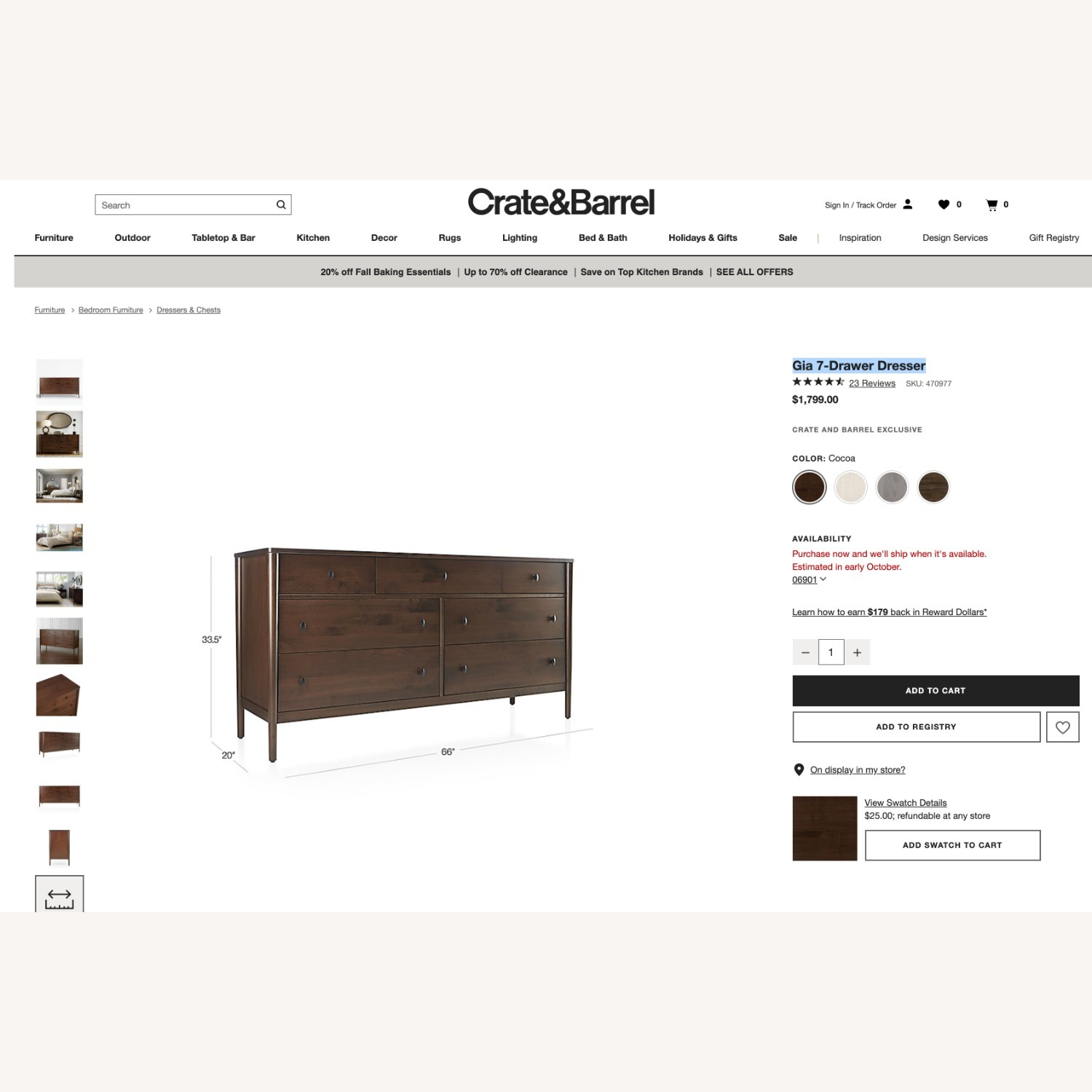 Crate & Barrel Gia 7-Drawer Dresser, Solid Maple - image-4