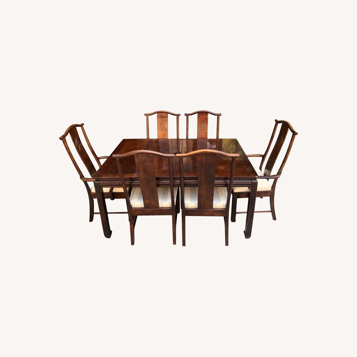 Vintage 1970s Table w/6 Chairs & 2 Extension - image-0