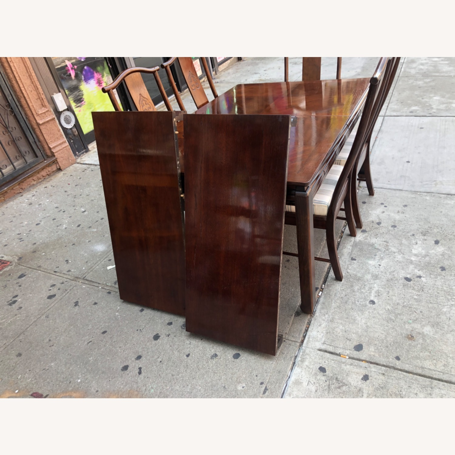 Vintage 1970s Table w/6 Chairs & 2 Extension - image-10