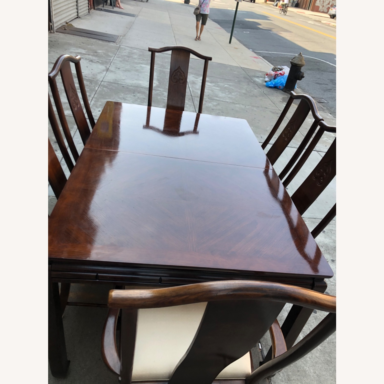 Vintage 1970s Table w/6 Chairs & 2 Extension - image-6