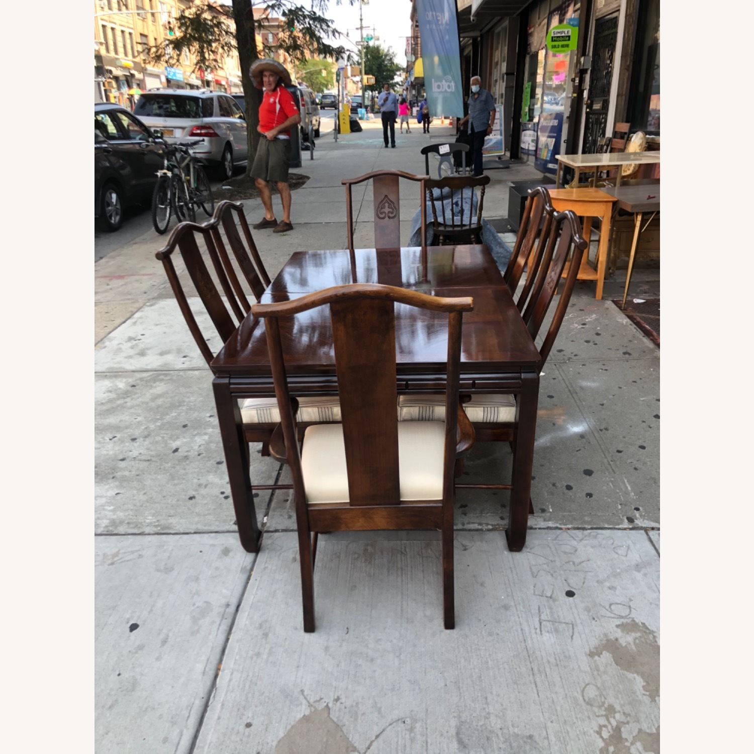 Vintage 1970s Table w/6 Chairs & 2 Extension - image-3