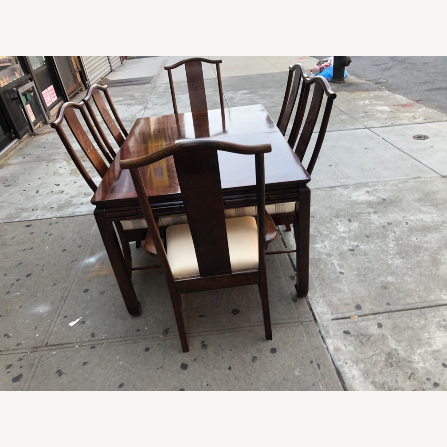 Vintage 1970s Table w/6 Chairs & 2 Extension - image-5