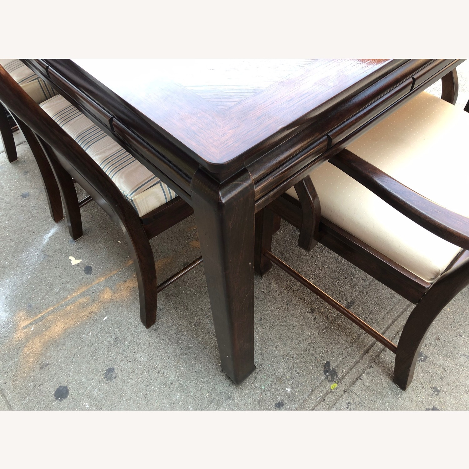 Vintage 1970s Table w/6 Chairs & 2 Extension - image-7