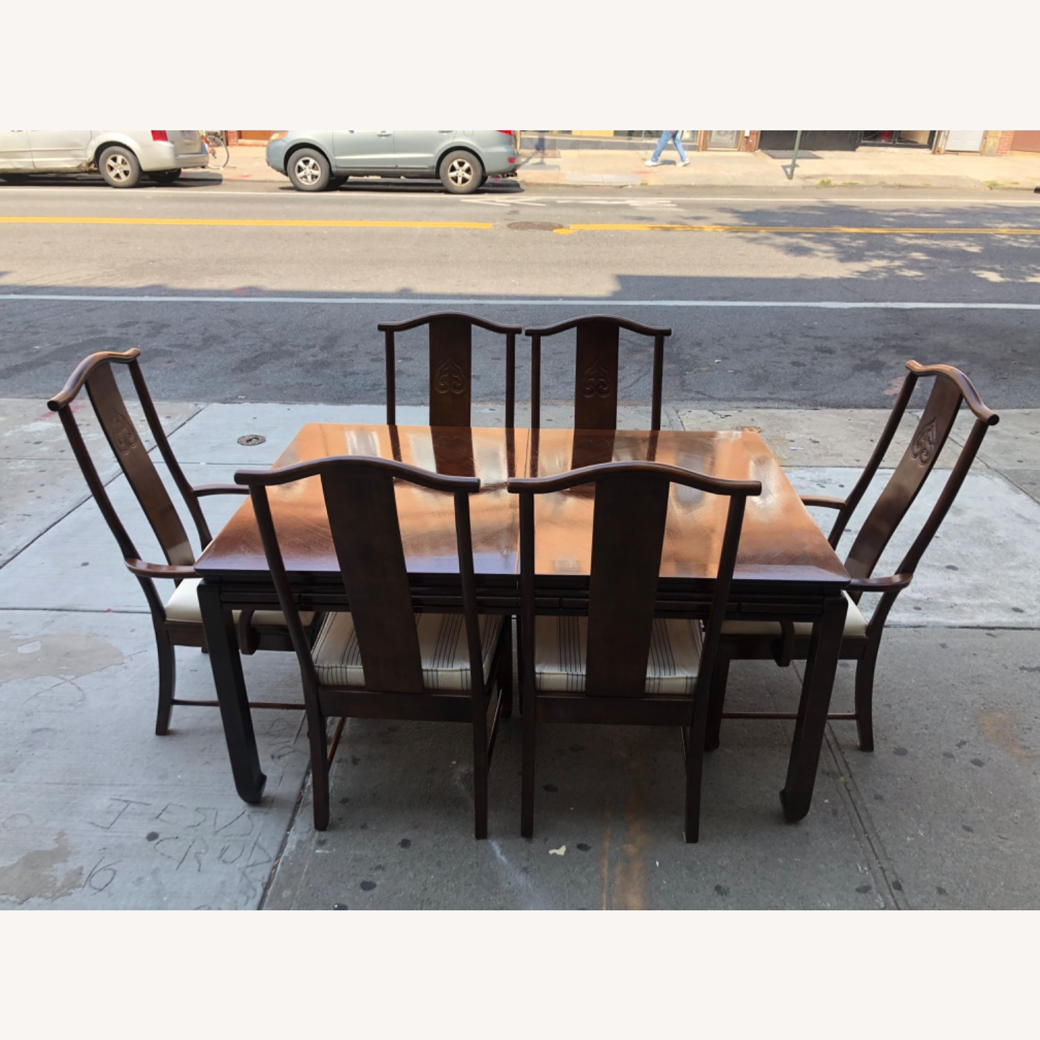 Vintage 1970s Table w/6 Chairs & 2 Extension - image-4
