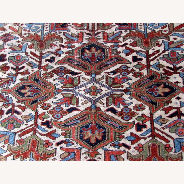 Handmade antique Persian Heriz distressed rug - image-8
