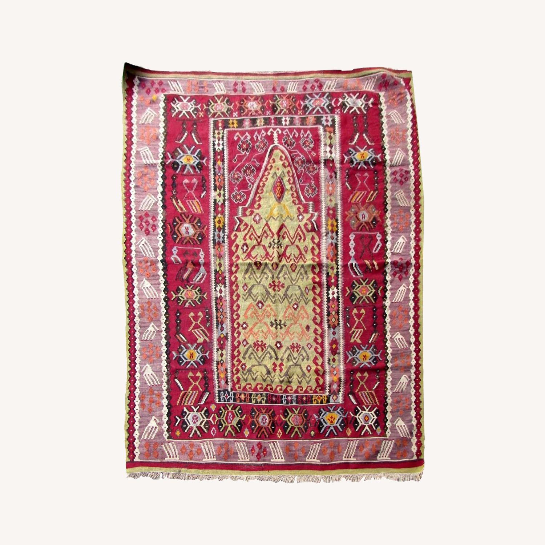 Handmade antique prayer Turkish Melas kilim - image-0