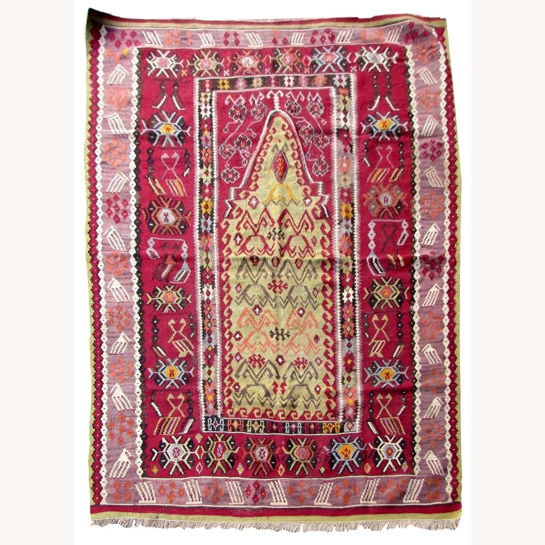 Handmade antique prayer Turkish Melas kilim - image-1