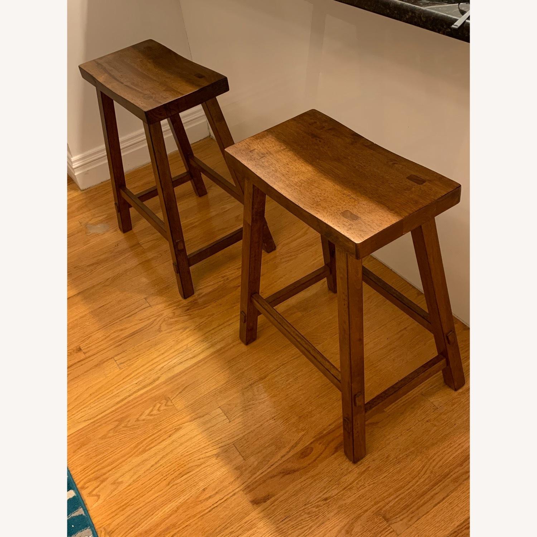 Wayfair Rustic Wooden Bar Stool Set - image-1