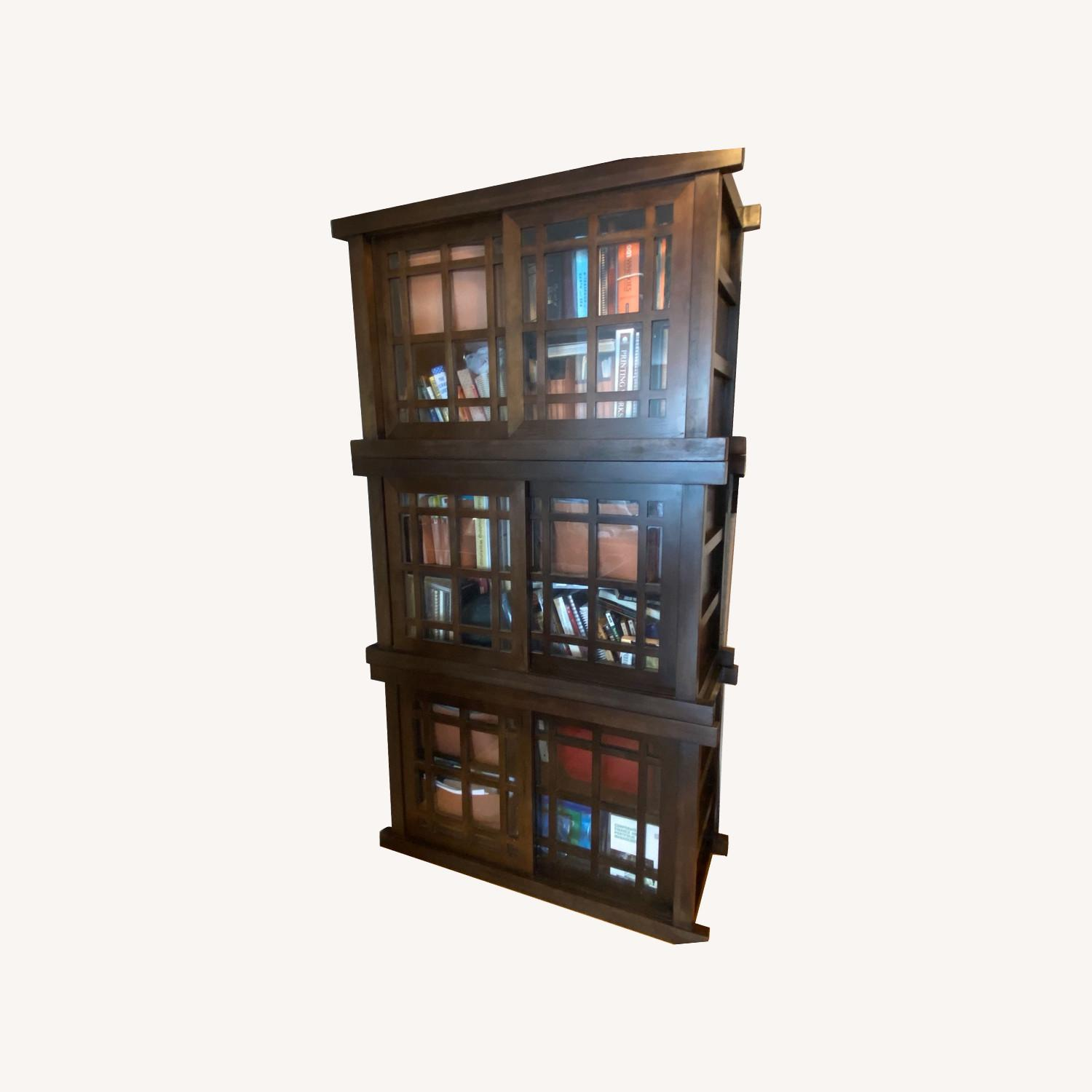 Room & Board Solid Walnut and Glass Stackable Bookshelf - image-0