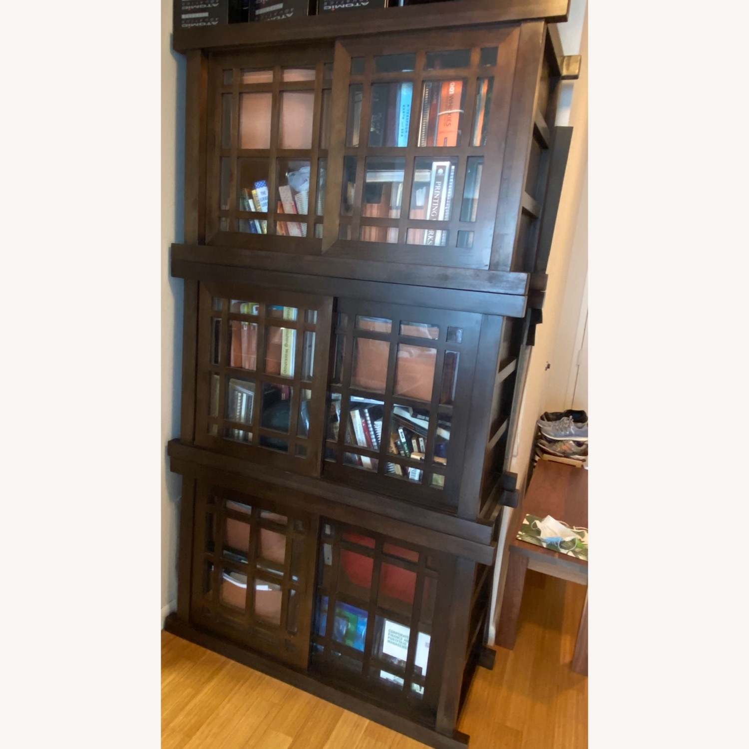 Room & Board Solid Walnut and Glass Stackable Bookshelf - image-1