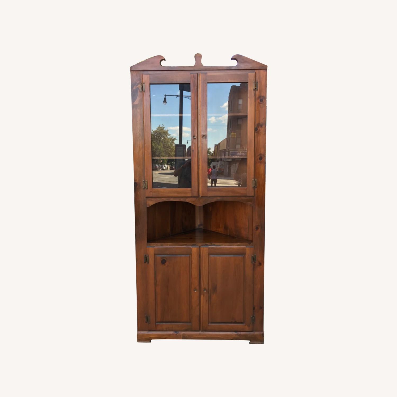 Mastercraft Vintage Pine Corner Cabinet Curio - image-0