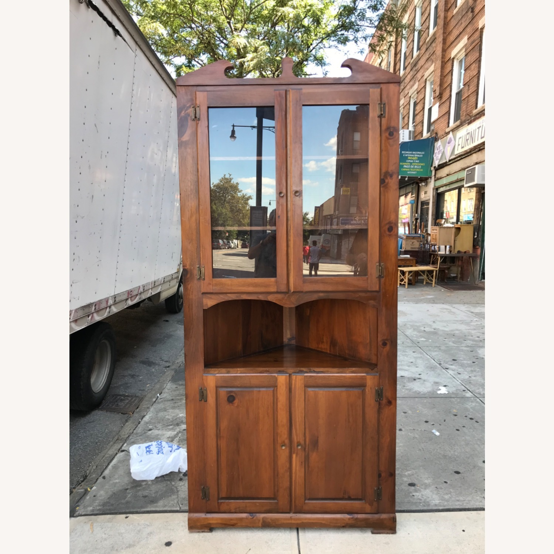 Mastercraft Vintage Pine Corner Cabinet Curio - image-1