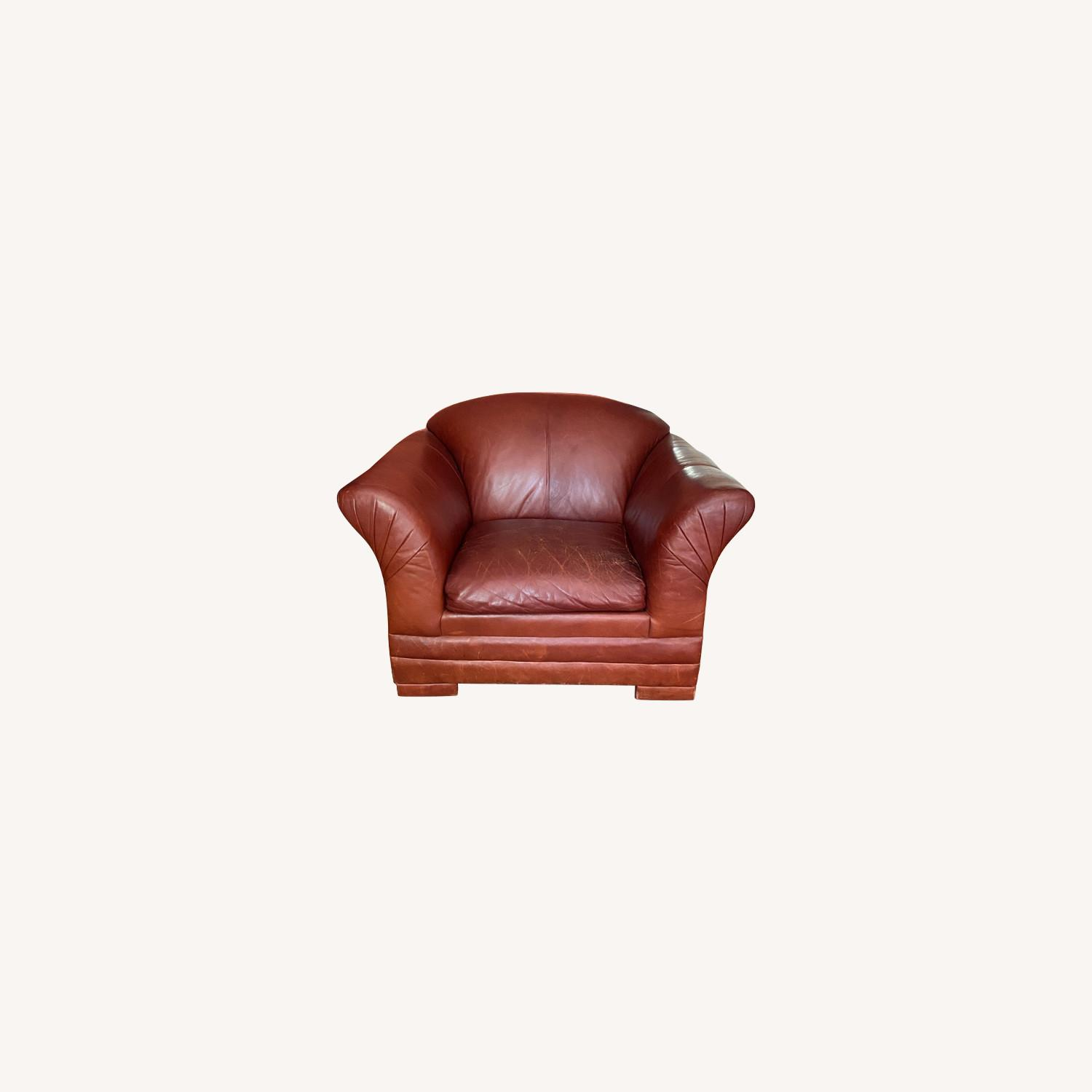 Wide Leather Armchair - image-0