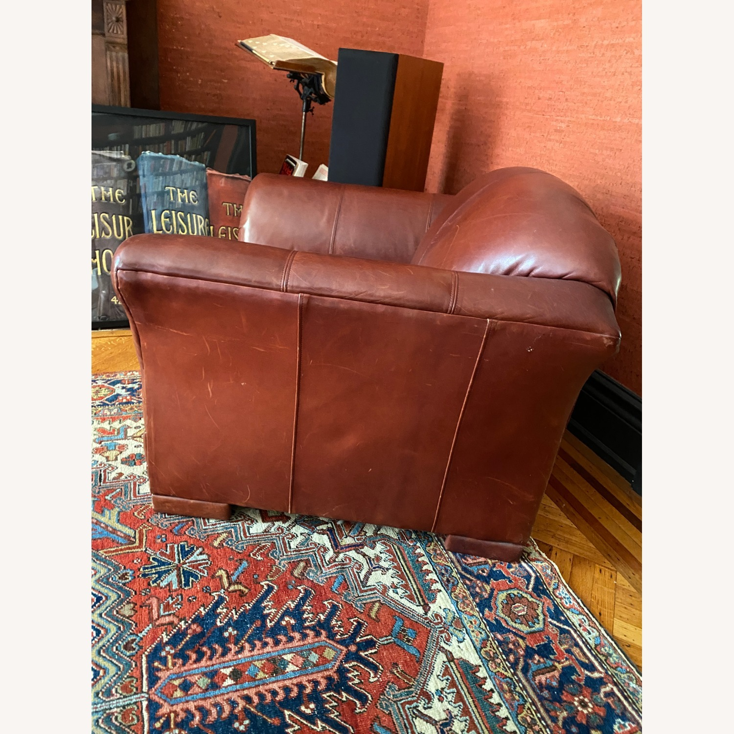 Wide Leather Armchair - image-5