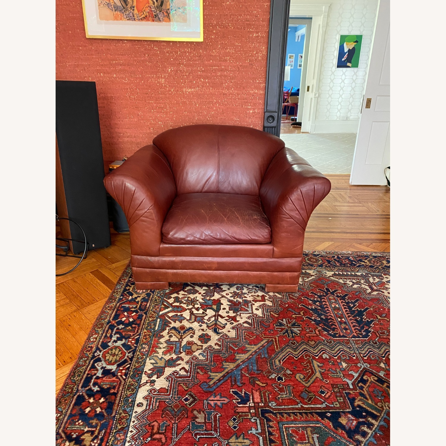 Wide Leather Armchair - image-1
