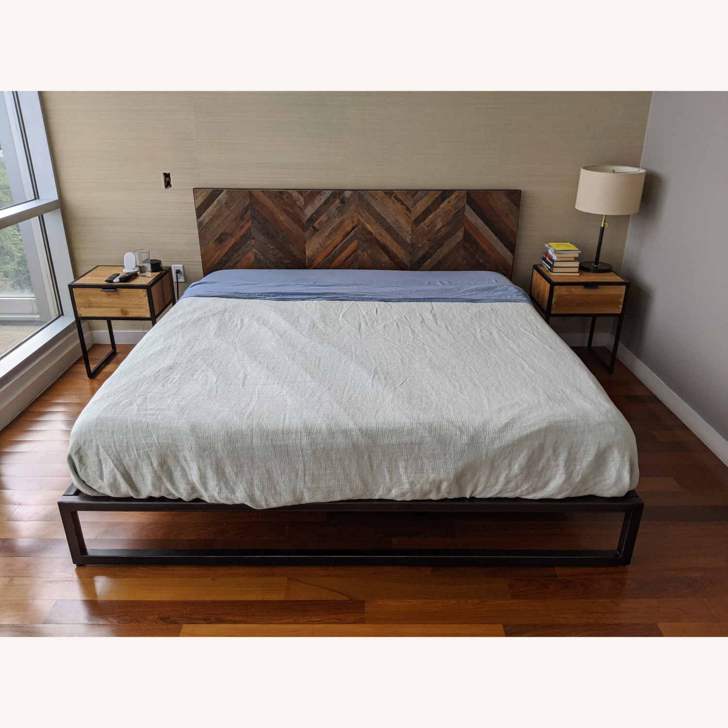 King Size Teak and Iron Bed Frame - image-1