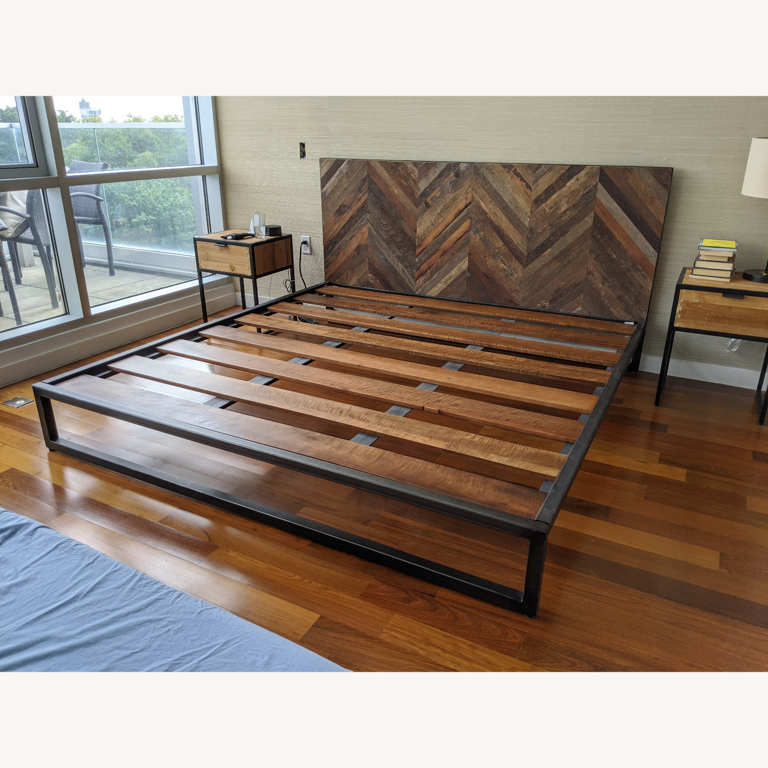 King Size Teak and Iron Bed Frame - image-3