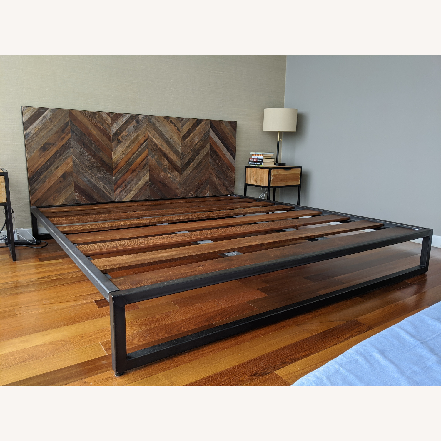 King Size Teak and Iron Bed Frame - image-4