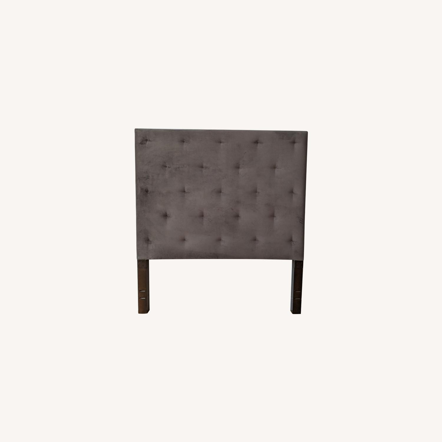 West Elm Dove Gray Tufted Headboard - image-0