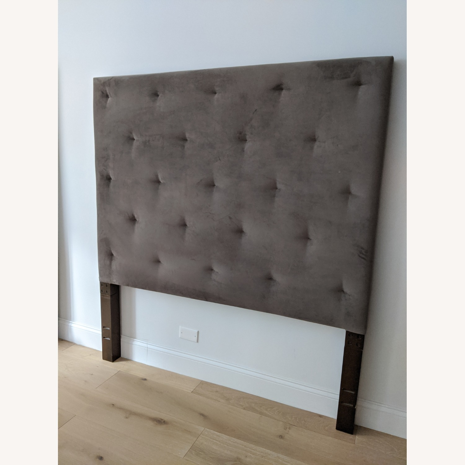West Elm Dove Gray Tufted Headboard - image-1