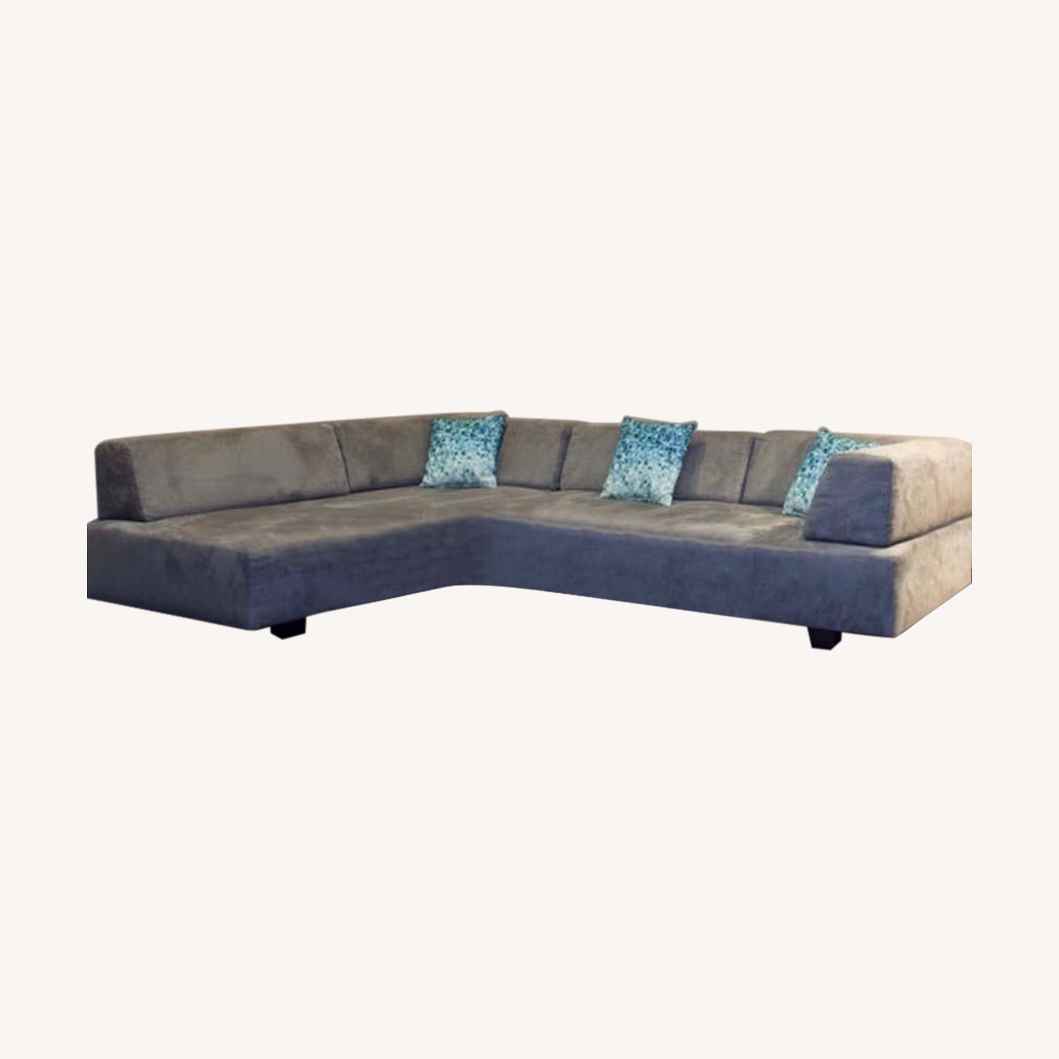 West Elm Grey Microsuede Tillary Sectional - image-0