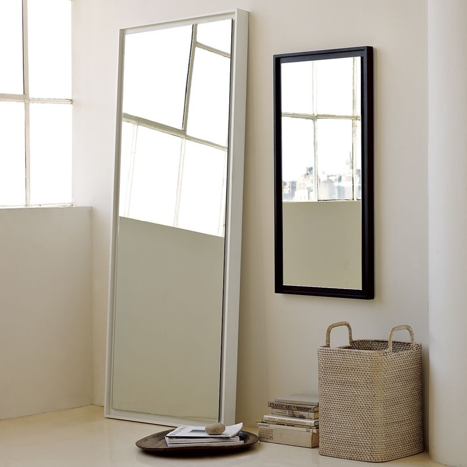 West Elm Floating Wood Floor Mirror - image-1